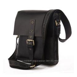 Кожаная мужская винтажная сумка крос-боди мессенджер черная