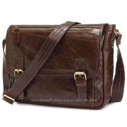 Кожаная мужская сумка крос-боди, телячья кожа, темно-коричневая