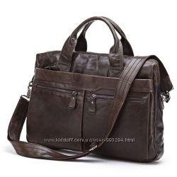 Кожаная мужская ежедневная сумка, для ноубука, черная