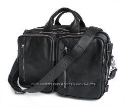 Кожаная сумка трансформер рюкзак, бриф, сумка черная