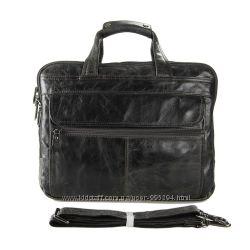 Кожаная сумка, брифкейс, дорожная сумка, серая