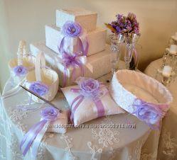 аксессуары для свадьбы бокалы, папки, подушечки ножи бонбоньерки