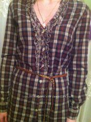 Удлинённая блуза, рубашка в клетку с поясом