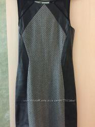 Короткое платье с кожаными вставками HM - S