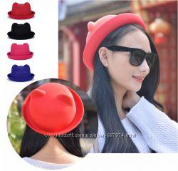 Шляпка НОВАЯ шляпа шапка котелок с ушками НАЛОЖКА