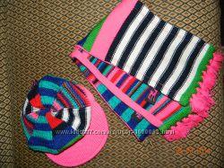 НОВЫЙ вязаный стильный комплект кепка и шарф