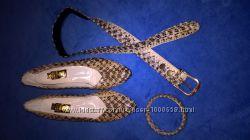 Туфли, ремень и браслет из натуральной кожи змеи