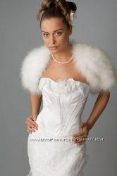 Свадебная накидка с рукавами из натурального лебяжего пуха  Крылья Ангела