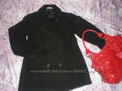 Чёрное кашемир пальто 46-48р