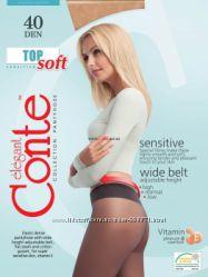 Плотные колготки TOP SOFT 40 den ТМ Conte с вит. Е, низкая талия. Низкие це