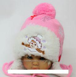 Зимняя шапка для девочки р. 38-44 см