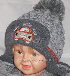 Вязаная шапка для мальчика полушерсть, флис.