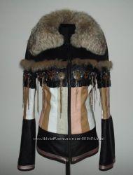 Кожаная куртка с мехоменот кожа р. S, М