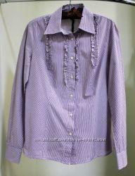 Рубашка Benetton в фиолетово-белую полоску, размер XL