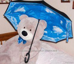 Зонт наоборот, зонт трость, ручка петля, умный зонтик, обратный зонт