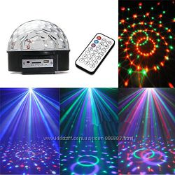Светомузыкальная лампа, шар дискотека МР3, SD, диско шар