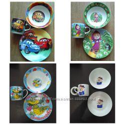 Детский набор керамической посуды 3 в 1, щенячий патруль, тачки, олаф