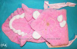 Конверт - одеяльце для выписки салатовый пчелки, розовый винни пух, малина