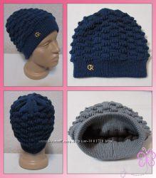 Стильные шапки вязаные двойные, недорого от производителя