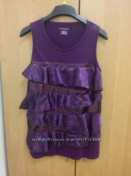 Фиолетовая майка с оборками и пайетками раз. L