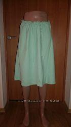 Льняная юбка мятного цвета H&M р-р S-M