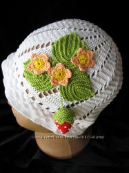 Вязаные летние шапочки, кепки и панамки для детей