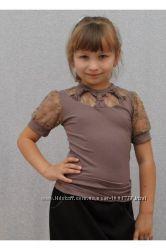 Блузка для девочки с гипюром