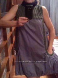 платье-туника с вязаным воротом