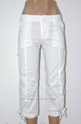 Капри белые стрейч-котон, размеры 42, 44, 46, 48