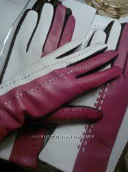 новые кожаные утепленные перчатки- трехцветные, 2 варианта,
