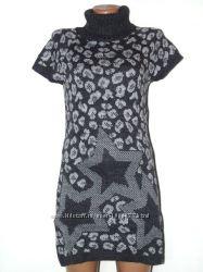 Теплая туника-платье съемные рукава и шапочка