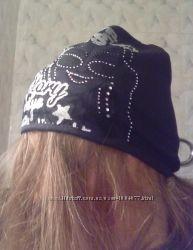 Молодежная шапка на флисе двойная черная
