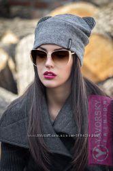 Модная шерстяная шапка с ушками