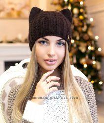 Зимняя женская шапка-кошка КЭТИ