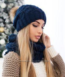 Женский зимний комплект шапка и шарф-хомут