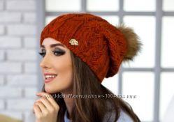 Вязаная женская шапка Афина на флисе