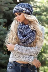 Женский зимний комплект шапка и шарф-восьмерка