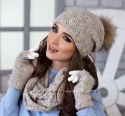 Женский комплект Арианда шапка, снуд и перчатки
