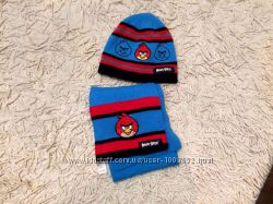 Набор комплект шарф и шапка шапочка Angry birds от George на 3-5 лет