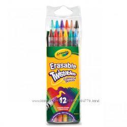 Crayola, Цветные карандаши-вертушки с ластиками, 12 шт.