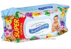 Акция Салфетки влажные Baby Superfresh 120шт. в упаковке с клапаном