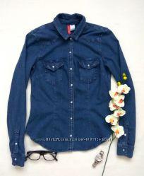 Супер синяя джинсовая рубашка с карманами бренда h&m