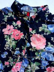 Супер вискозная синяя рубашка, блуза с цветочным принтом бренда h&m