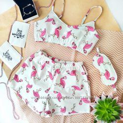 Хлопковая пижама  маска для сна, топ и шортики ручной работы с фламинго