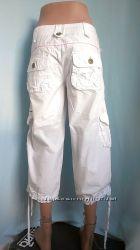 Бриджи женские летние капри 10, 38 белый хлопок M L TM Denim CO