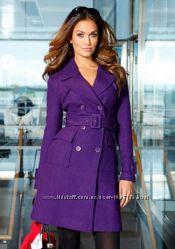 Пальто Warehouse L-XL полушерсть фиолетовое, Англия.
