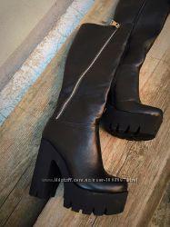 Зимние шикарные сапоги кожа и замша, черные и бордо