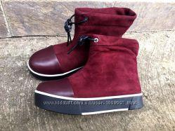 зимние ботинки на затяжке кожа, замша, черные и марсал