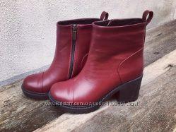 Зимние ботинки на толстом каблуке кожа и замша