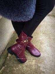 Зимние сапоги с карабинами кожа и замша черные, марсал, бордо